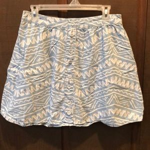 Chambray Skirt with White Print and Buttons